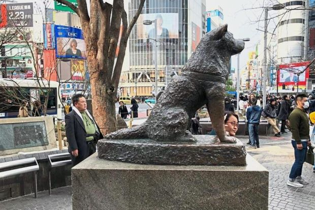 Памятник Хатико у станции Сибуя