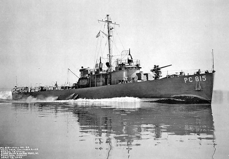 Противолодочный корабль PC 815, которым командовал лейтенант Л. Рон Хаббард